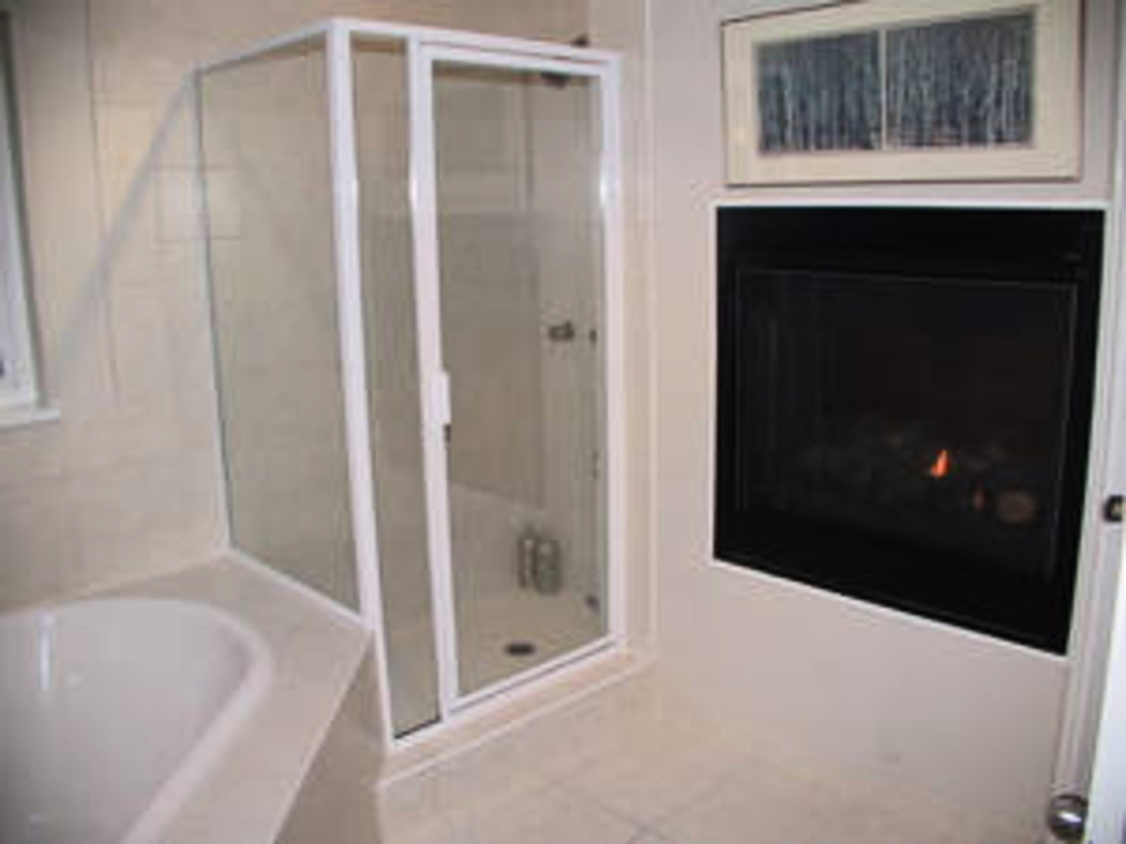 Master Bedroom Ensuite Separate shower and fireplace