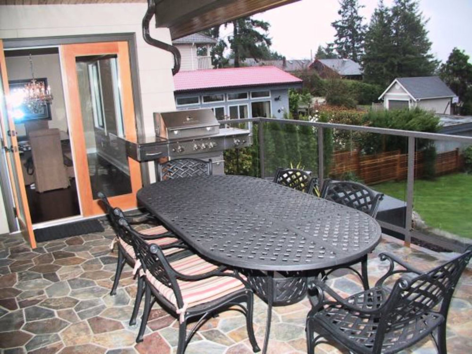 Covered Balcony Heated Slate Floors