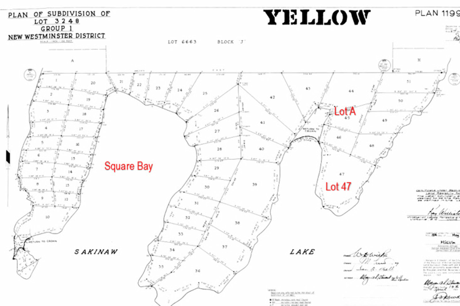 Location on Sakinaw Lake