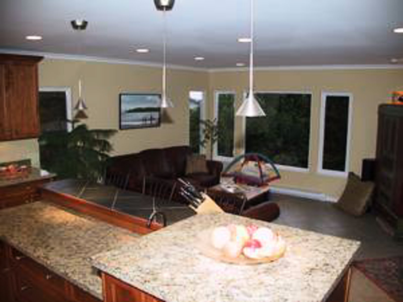 Kitchen Granite countertops, halogen and pot lighting connecting to spacious family room