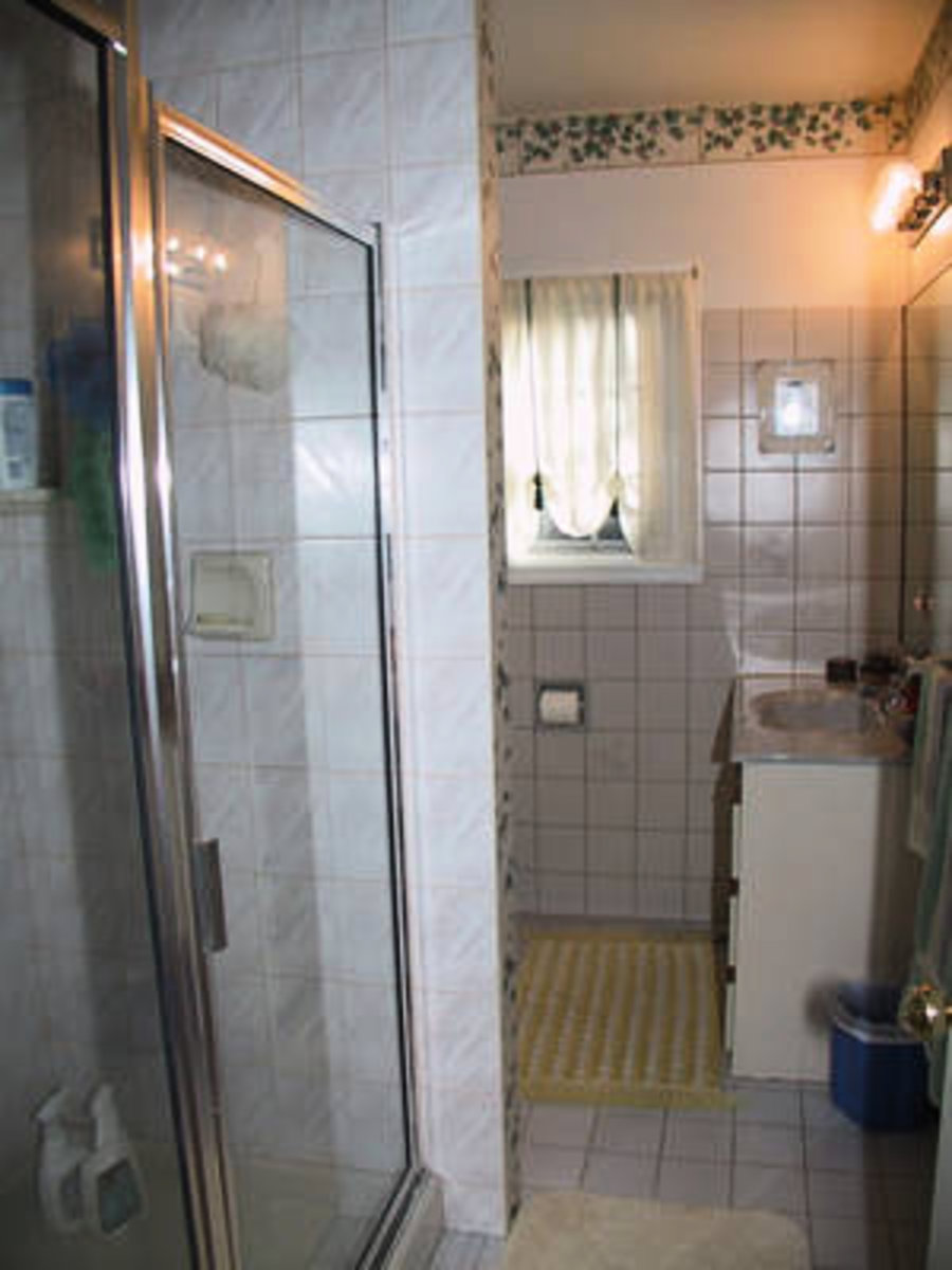 Bathroom Upstairs New vanity with bathtub and shower