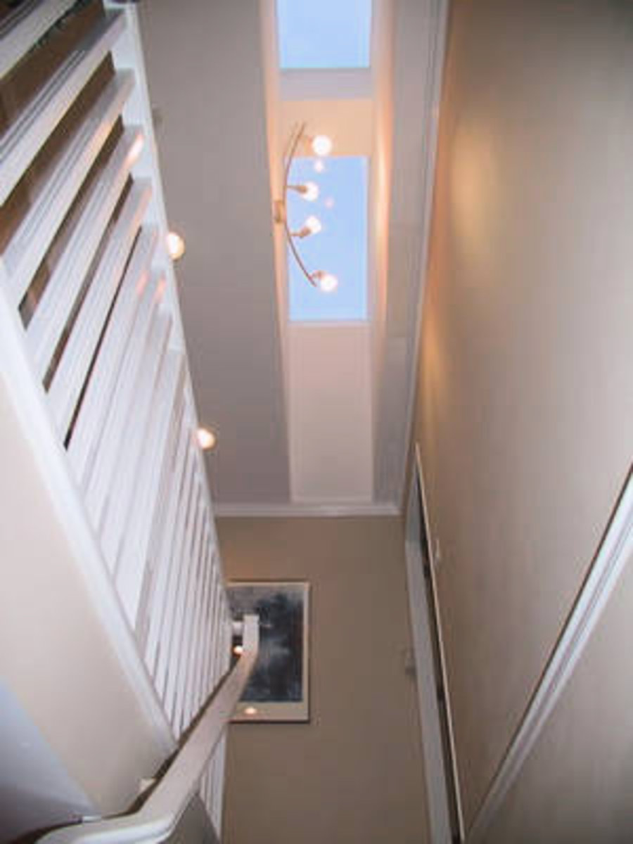 Upstairs with skylights